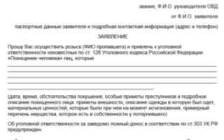 Заявление о пропаже человека в полицию: образец составления и порядок подачи