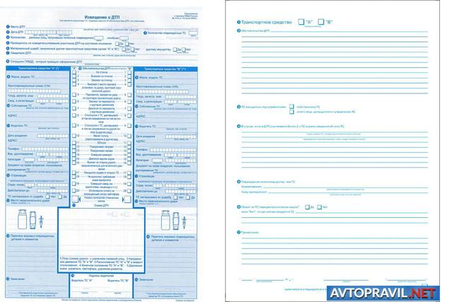 Извещение о ДТП: образец и особенности заполнения бланка