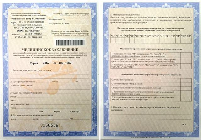 Медицинская справка для получения/замены водительского удостоверения